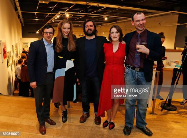 Simon Bird Lily Cole Matt Berry Charlotte Ritchie and John Seaward attend the press night after party for 'The Philanthropist' at the Mall Galleries...