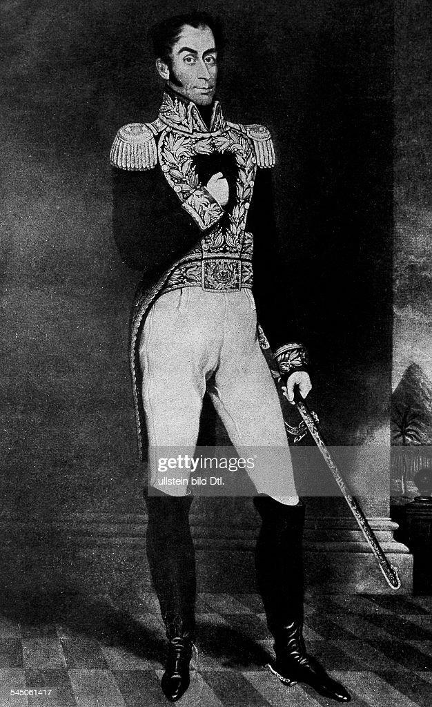 <a gi-track='captionPersonalityLinkClicked' href=/galleries/search?phrase=Simon+Bolivar&family=editorial&specificpeople=151017 ng-click='$event.stopPropagation()'>Simon Bolivar</a>*24.07.1783-17.12.1830+Befreiungskämpfer, Südamerikasüdamerikanischer Nationalheldleitete seit 1812 den südamerikanischenBefreiungskampfGemälde von Gil- 1826