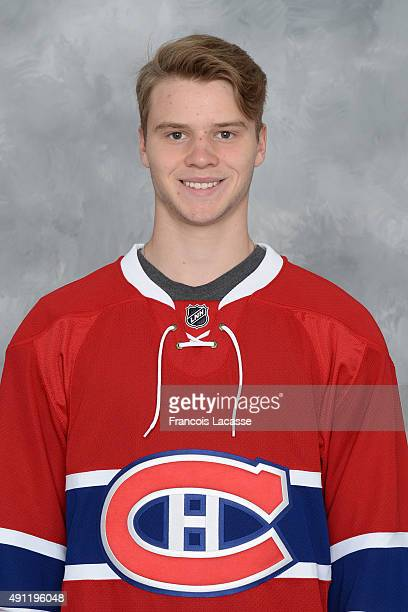 Simon Bourque of the Montreal Canadiens poses for his official headshot for the 20152016 season on September 17 2015 at the Bell Sports Complex in...