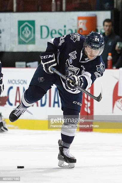 Simon Bourque of the Rimouski Oceanic shoots the puck during warmup prior a game against the Gatineau Olympiques on February 22 2015 at Robert...