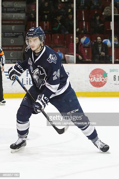 Simon Bourque of the Rimouski Oceanic skates against the Gatineau Olympiques during a game on February 22 2015 at Robert Guertin Arena in Gatineau...