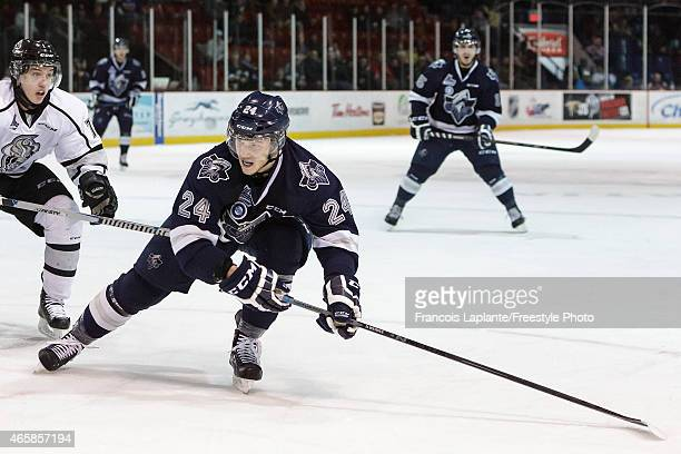 Simon Bourque of the Rimouski Oceanic skates against the Gatineau Olympiques in a game against the Gatineau Olympiques on February 22 2015 at Robert...
