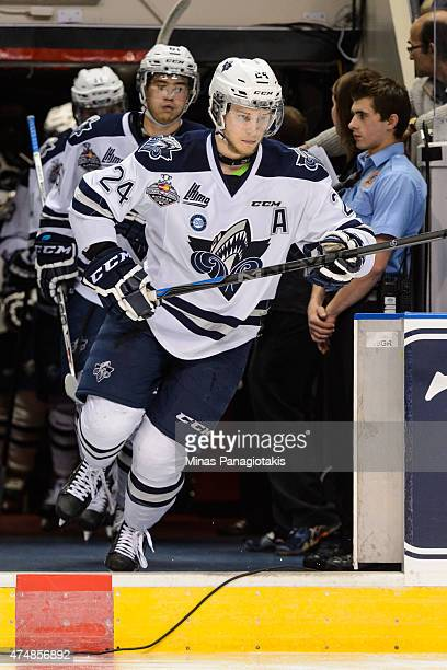 Simon Bourque of the Rimouski Oceanic takes to the ice prior to Game Two during the 2015 Memorial Cup against the Oshawa Generals at the Pepsi...