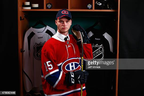 Simon Bourque poses for a portrait after being selected 177th overall by the Montreal Canadiens during the 2015 NHL Draft at BBT Center on June 27...