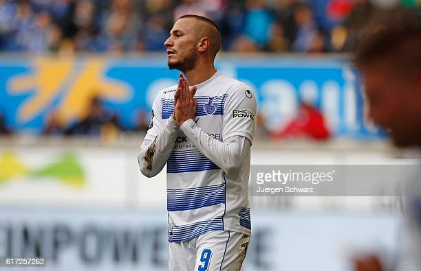 Simon Brandstetter of Duisburg gestures after failing to score during the third league match between MSV Duisburg and Hansa Rostock at...