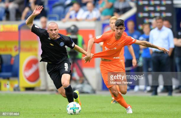 Simon Brandstetter of MSV Duisburg and Pablo Fornals of FC Malaga during the game between MSV Duisburg and FC Malaga on july 23 2017 in Duisburg...