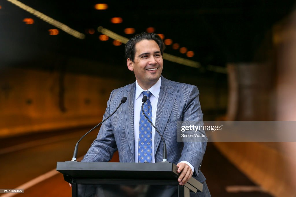 Simon Bridges, the Minister of Transport during the official opening of the Waterview Tunnel on June 18, 2017 in Auckland, New Zealand. The $1.4 billion Waterview Connection is part of the Western Ring Route, one of the NZ Government's seven Roads of National Significance.