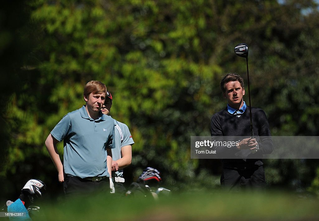 Simon Brierley of South Essex Golf Centre (L) and Chase Davis of Stapleford Abbotts Golf Club (R) look on during the Powerade PGA Assistants' Championship East Regional Qualifier at Chigwell Golf Club on May 01, 2013 in Chigwell, England.