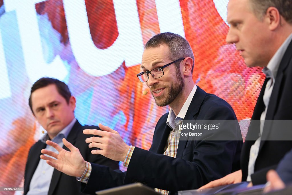 Simon Bryant (Futuresource), Martin Lindell (EA) and Simon Mills (Wallpaper* UK) attend Samsung: Inside The Future Of Television Panel at the Grimaldi Forum on February 11, 2016 in Monte-Carlo, Monaco.