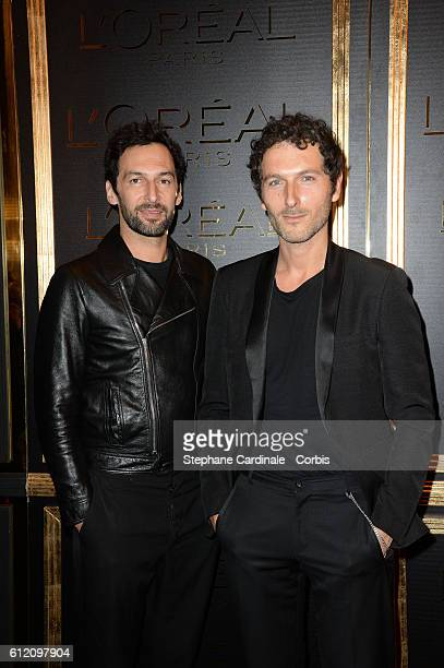 Simon Buret and Olivier Coursier attend the Gold Obsession Party L'Oreal Paris Photocall as part of the Paris Fashion Week Womenswear Spring/Summer...