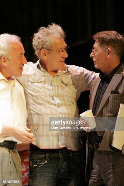 Simon Callow Sir Ian McKellen and John Hurt chat during rehearsals for 'Cries from the Heart' a celebration of voices for justice in support of Human...
