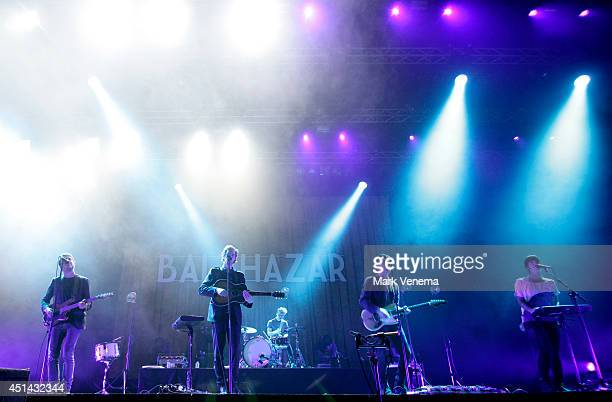 Simon Casier Maarten Devoldere Michiel Balcaen Jinte Deprez and Patricia Vanneste of Balthazar perform at Day 2 of Down The Rabbit Hole Festival at...