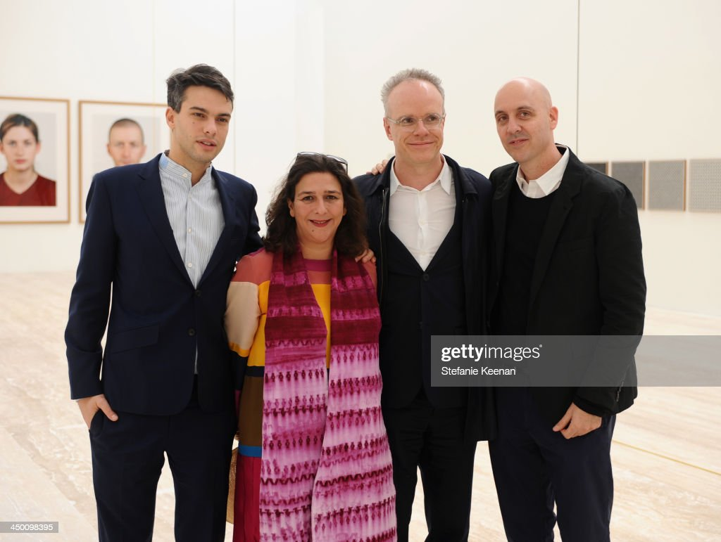 Simon Castets, Isabella Mora, Hans Ulrich Obrist and Director of La Coleccion Jumex Patrick Charpenel attend a private preview at Museo Jumex on November 16, 2013 in Mexico City, Mexico.