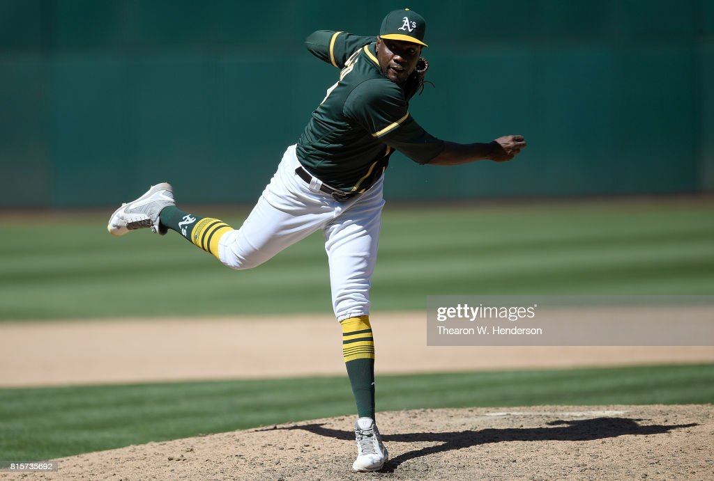 Simon Castro #67 of the Oakland Athletics pitches against the Cleveland Indians in the top of the ninth inning at Oakland Alameda Coliseum on July 16, 2017 in Oakland, California. The Athletics won the game 7-3.