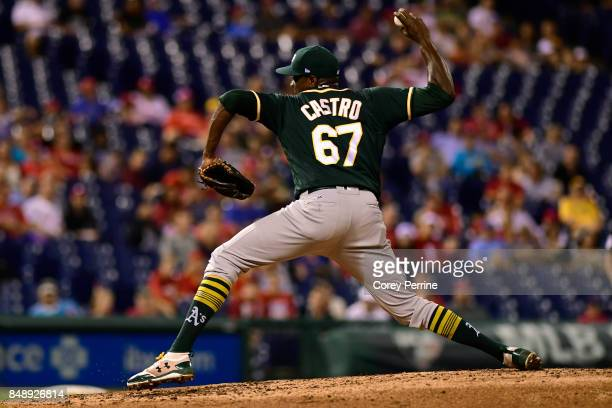 Simon Castro of the Oakland Athletics pitches against the Philadelphia Phillies during the fifth inning at Citizens Bank Park on September 16 2017 in...
