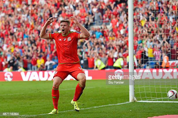 Simon Church of Wales of Wales reacts after his late goal is disallowed for off side during the UEFA EURO 2016 group B qualifying match between Wales...