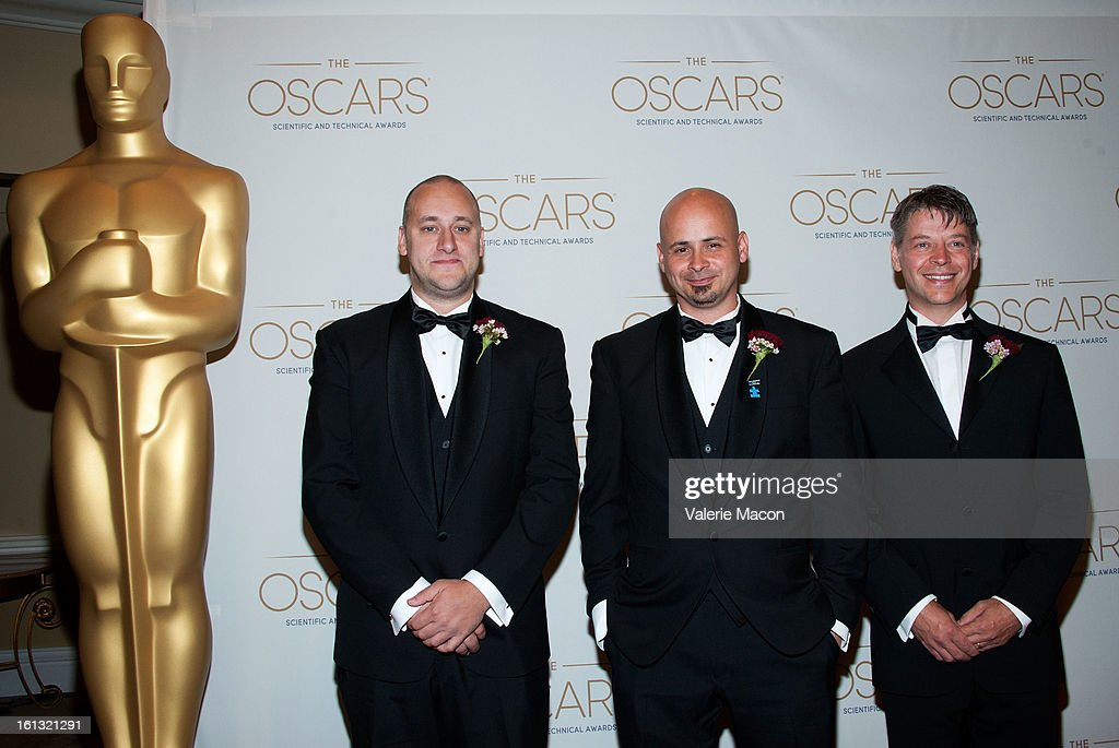 Simon Clutterbuck, James Jacobs and Dr Richard Dorling arrives at the Academy Of Motion Picture Arts And Sciences' Scientific & Technical Awards at Beverly Hills Hotel on February 9, 2013 in Beverly Hills, California.