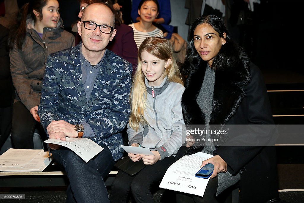Simon Collins, Audrey Collins, and Meenal Mistry Taoray Wang fashion show during Fall 2016 New York Fashion Week: The Shows at The Dock, Skylight at Moynihan Station on February 13, 2016 in New York City.