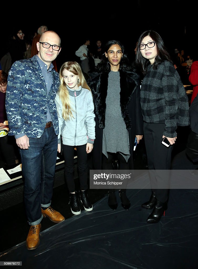 Simon Collins, Audrey Collins, Meenal Mistry, and Wang Tao attend Taoray Wang fashion show during Fall 2016 New York Fashion Week: The Shows at The Dock, Skylight at Moynihan Station on February 13, 2016 in New York City.