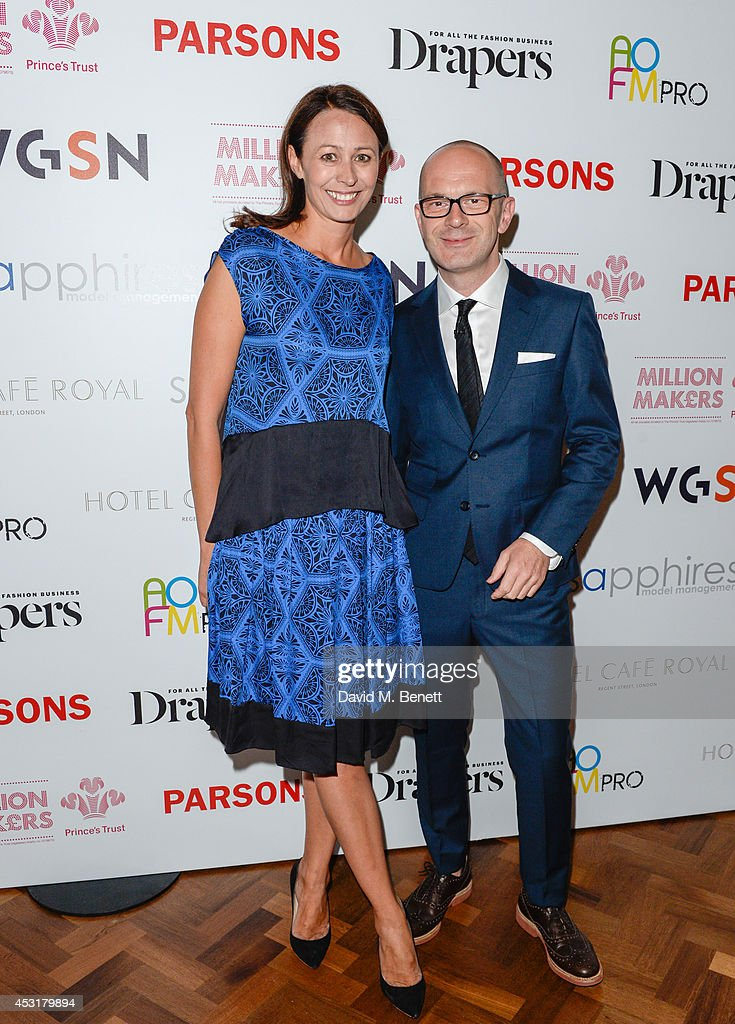 Simon Collins,Caroline Rush attend the VIP charity event, which Drapers and WGSN Group, partnered with Parsons The New School for Design and the British Fashion Council to hold, in aid of the Prince's Trust Million Makers on August 4, 2014 in London, England. The event saw the launch the acclaimed book 'The School of Fashion: 30 Parsons Designers' by Simon Collins, Dean of Fashion at Parsons. The richly-illustrated volume explores the legacy of Parsons through the testimony of its brightest alumni, with interviews and sketches from Donna Karan, Alexander Wang, Jack McCullough and Lazaro Hernandez of Proenza Schouler, and many others.