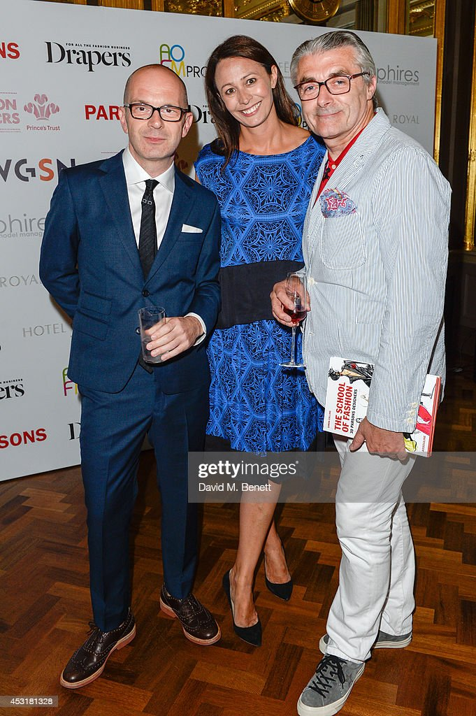 Simon Collins,Caroline Rush,Eric Musgrave attend the VIP charity event, which Drapers and WGSN Group, partnered with Parsons The New School for Design and the British Fashion Council to hold, in aid of the Prince's Trust Million Makers on August 4, 2014 in London, England. The event saw the launch the acclaimed book 'The School of Fashion: 30 Parsons Designers' by Simon Collins, Dean of Fashion at Parsons. The richly-illustrated volume explores the legacy of Parsons through the testimony of its brightest alumni, with interviews and sketches from Donna Karan, Alexander Wang, Jack McCullough and Lazaro Hernandez of Proenza Schouler, and many others.