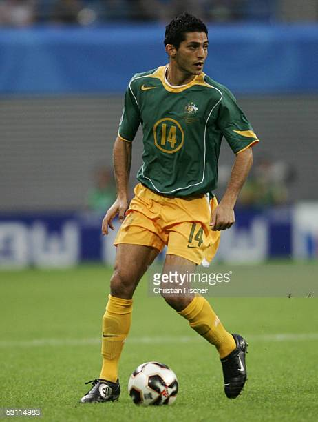 Simon Colosimo of Australia in action during the match between Australia and Tunisia for the FIFA Confederations Cup 2005 at the Zentralstadium on...