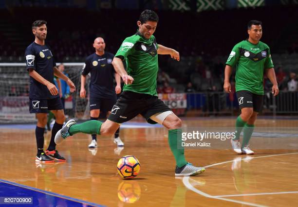 Simon Colosimo of the Socceroos kicks the ball during the match between the ALeague Legends and the Socceroos Legends at Titanium Security Arena on...