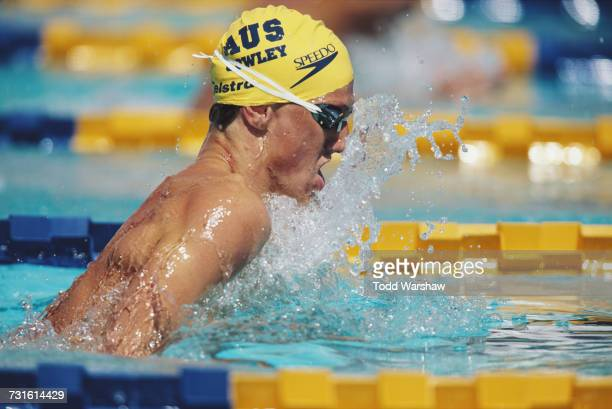 Simon Conley of Australia during the Men's 100 metre Breastroke event at the FINA World Swimming Championships on 12 January 1998 at the Challenge...