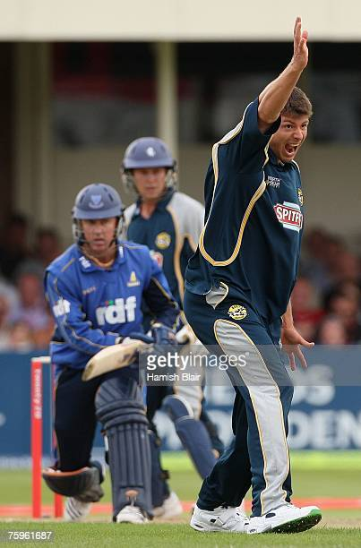 Simon Cook of Kent appeals unsuccessfully against Murray Goodwin of Sussex during the Twenty20 Cup Semi Final match between Kent Spitfires and Sussex...