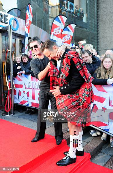 Simon Cowell and David Walliams attends the Edinburgh auditions for 'Britain's Got Talent' at Edinburgh Festival Theatre on January 19 2015 in...