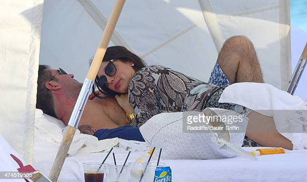 Simon Cowell and Lauren Silverman are seen at the beach on February 23 2014 in Miami Florida