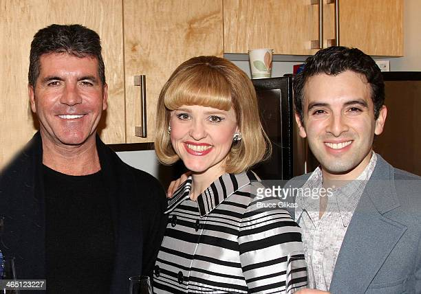 Simon Cowell Anika Larsen as 'Cynthia Weil' and Jarrod Spector as 'Barry Mann' pose backstage at 'BEAUTIFUL The Carole King Musical' on Broadway at...