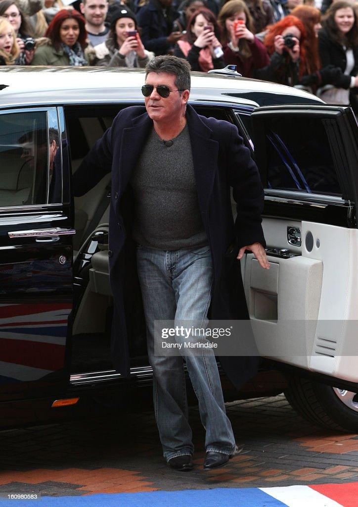 <a gi-track='captionPersonalityLinkClicked' href=/galleries/search?phrase=Simon+Cowell&family=editorial&specificpeople=203007 ng-click='$event.stopPropagation()'>Simon Cowell</a> arrives for the Birmingham auditions of Britain's Got Talent at The ICC on February 8, 2013 in Birmingham, England.