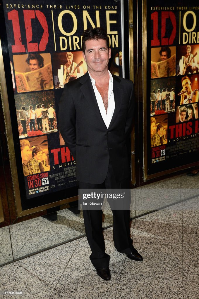 <a gi-track='captionPersonalityLinkClicked' href=/galleries/search?phrase=Simon+Cowell&family=editorial&specificpeople=203007 ng-click='$event.stopPropagation()'>Simon Cowell</a> attends the 'One Direction This Is Us' world premiere at the Empire Leicester Square on August 20, 2013 in London, England.