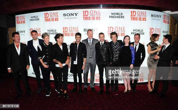 Simon Cowell Director Morgan Spurlock with Niall Horan Louis Tomlinson Zayn Malik Liam Payne and Harry Styles at the World Premiere of One Direction...