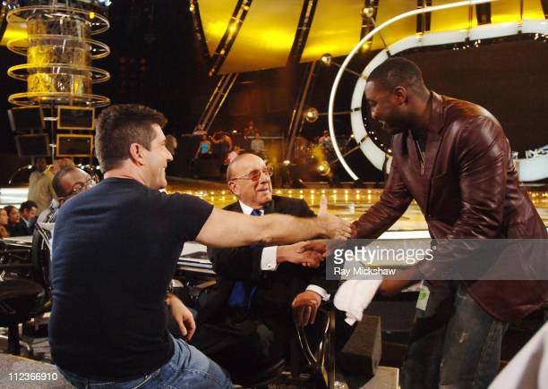 Simon Cowell judge and Clive Davis guest judge with George Huff from 'American Idol' Season 3