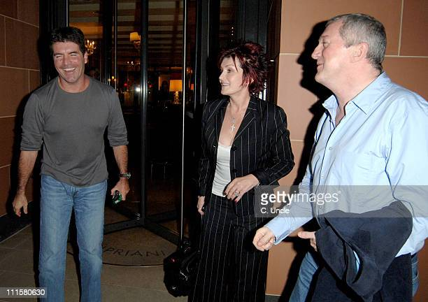 Simon Cowell Sharon Osbourne and Louis Walsh during Celebrity Sightings at Cipriani's Restaurant in London August 15 2005 at Cipriani's Restaurant in...