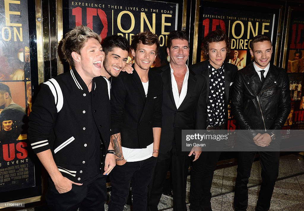 <a gi-track='captionPersonalityLinkClicked' href=/galleries/search?phrase=Simon+Cowell&family=editorial&specificpeople=203007 ng-click='$event.stopPropagation()'>Simon Cowell</a> (C) with (L-R) <a gi-track='captionPersonalityLinkClicked' href=/galleries/search?phrase=Niall+Horan&family=editorial&specificpeople=7229827 ng-click='$event.stopPropagation()'>Niall Horan</a>, <a gi-track='captionPersonalityLinkClicked' href=/galleries/search?phrase=Zayn+Malik&family=editorial&specificpeople=7298822 ng-click='$event.stopPropagation()'>Zayn Malik</a>, <a gi-track='captionPersonalityLinkClicked' href=/galleries/search?phrase=Louis+Tomlinson&family=editorial&specificpeople=7235196 ng-click='$event.stopPropagation()'>Louis Tomlinson</a>, <a gi-track='captionPersonalityLinkClicked' href=/galleries/search?phrase=Harry+Styles&family=editorial&specificpeople=7229830 ng-click='$event.stopPropagation()'>Harry Styles</a> and <a gi-track='captionPersonalityLinkClicked' href=/galleries/search?phrase=Liam+Payne&family=editorial&specificpeople=7235152 ng-click='$event.stopPropagation()'>Liam Payne</a> from One Direction attend the 'One Direction This Is Us' world premiere at the Empire Leicester Square on August 20, 2013 in London, England.