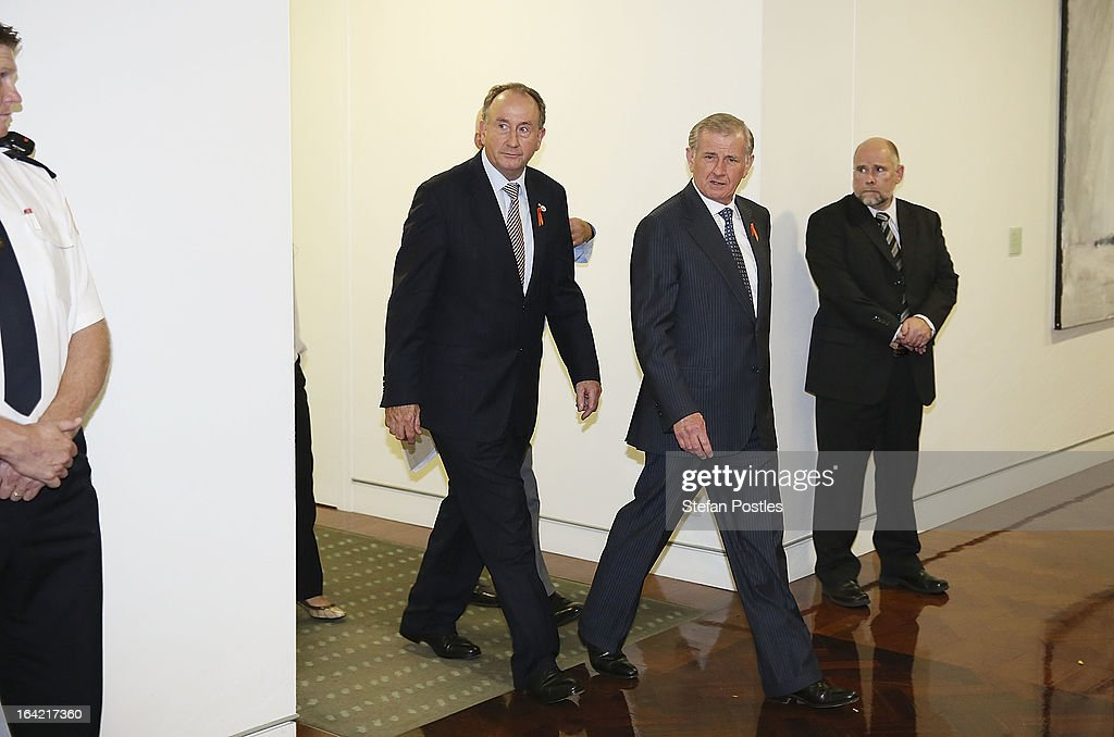 Simon Crean (C) leaves the caucus meeting on March 21, 2013 in Canberra, Australia. Australian Prime Minister Julia Gillard has called for a ballot today to decide the leader, and deputy leader of the Australian Labor Party, effectively a caucus vote that will decide the Prime Minister and Deputy Prime Minister of the country. In a surprise turn of events only the incumbents nominated for the positions, so Julia Gillard remains Prime Minister and Wayne Swan stays in the role of Deputy Prime Minister.