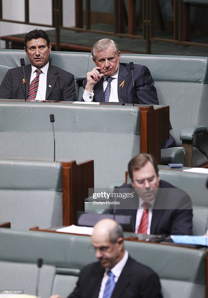 Simon Crean (top - C) sits on the back bench during House of Representatives question time on March 21, 2013 in Canberra, Australia. Australian Prime Minister Julia Gillard has called for a ballot today to decide the leader, and deputy leader of the Australian Labor Party, effectively a caucus vote that will decide the Prime Minister and Deputy Prime Minister of the country. Kevin Rudd is expected to nominate for the leadership and Simon Crean for the deputy position. Rudd, who was elected Prime Minister in the 2007 election was ousted by Gillard in June 2010, who then went on to win the 2010 Federal Election in August.