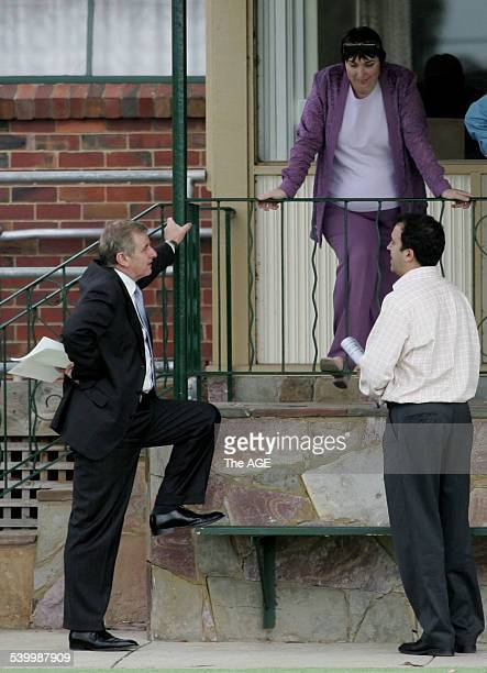 Simon Crean talking to a voter with his opponent Martin Pakvla to his right at the preselection vote for the ALP seat of Hotham at the South Oakleigh...