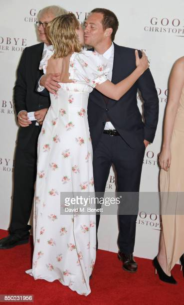 Simon Curtis Margot Robbie and Stephen Campbell Moore attend the World Premiere of 'Goodbye Christopher Robin' at Odeon Leicester Square on September...