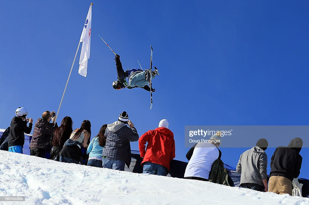 Simon D'Artois of Canada soars above the spectators just prior to falling on his first run in the finals of the FIS Freestyle Ski Halfpipe World Cup during the Sprint U.S. Grand Prix at Park City Mountain on February 2, 2013 in Park City, Utah.
