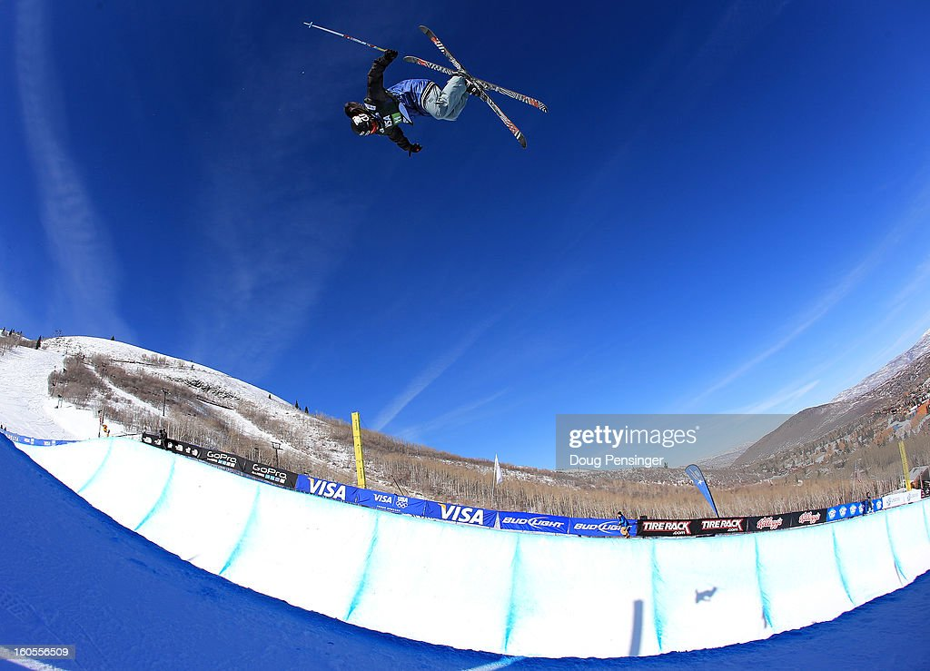 Simon D'Artois of Canada takes a practice run prior to the finals of the FIS Freestyle Ski Halfpipe World Cup during the Sprint U.S. Grand Prix at Park City Mountain on February 2, 2013 in Park City, Utah. D'Artois crashed on his first run of the finals, was removed from the halfpipe via sled and was airlifted to a hospital.