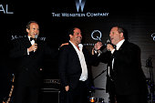 Simon de Pury director Brett Ratner and chairman of The Weinstein Company Harvey Weinstein speak at the 2012 amfAR's Cinema Against AIDS during the...