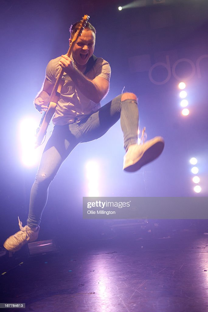 Simon Delaney of Don Brocco performs onstage during a sold out show on the last night of the Prioroties 2013 album Tour at KOKO on April 18, 2013 in London, England.