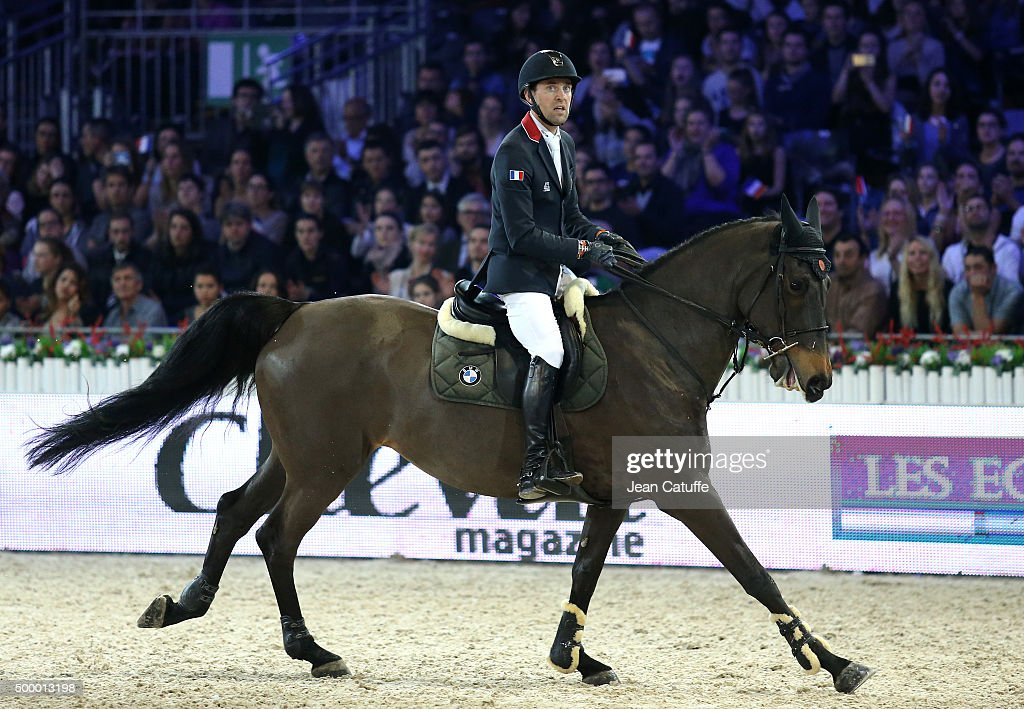 <a gi-track='captionPersonalityLinkClicked' href=/galleries/search?phrase=Simon+Delestre&family=editorial&specificpeople=2331561 ng-click='$event.stopPropagation()'>Simon Delestre</a> of France competes in the Longines Speed Challenge show jumping event (CSI5) on day two of the Longines Paris Masters 2015 held at the Paris-Nord Villepinte Exhibition Center on December 4, 2015 in Villepinte nearby Paris, France.
