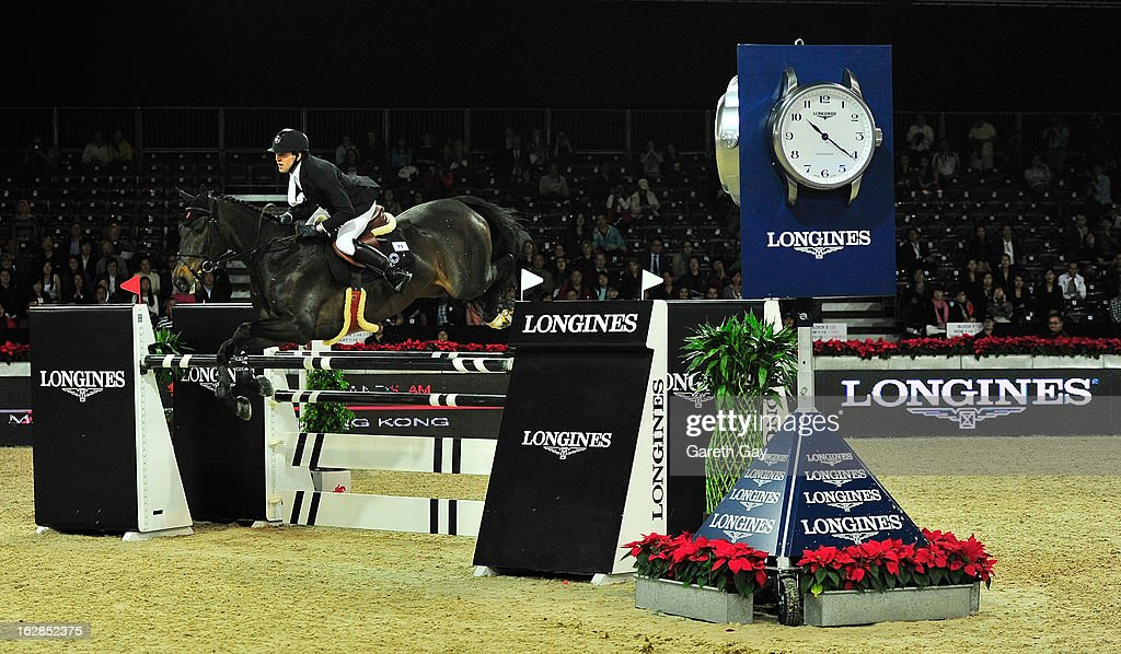 Simon Delestre of France rides Wisper at the Longines Speed Challenge during the Furusiyya FEI Nations Cup on February 28, 2013 in Hong Kong.