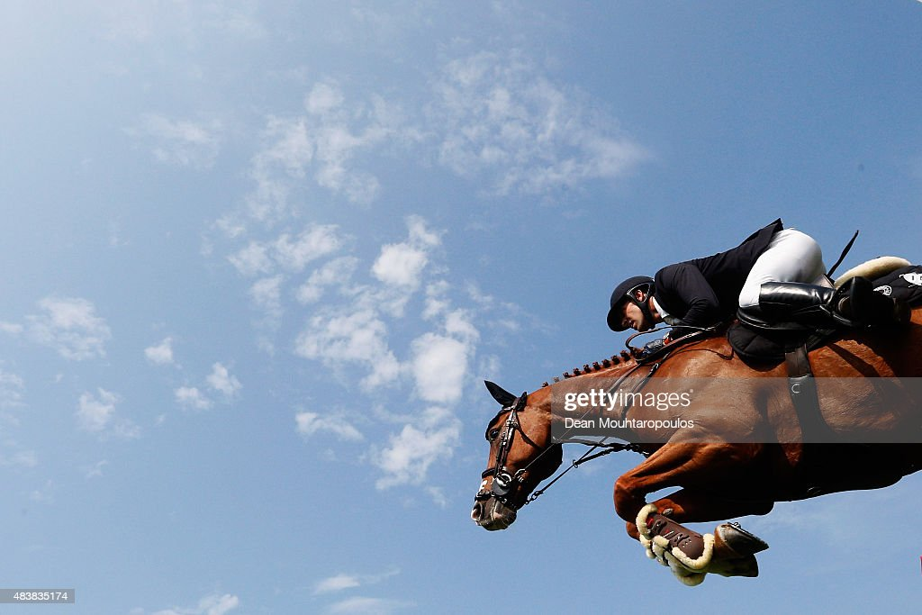 <a gi-track='captionPersonalityLinkClicked' href=/galleries/search?phrase=Simon+Delestre&family=editorial&specificpeople=2331561 ng-click='$event.stopPropagation()'>Simon Delestre</a> of France riding Chesall competes in the Class 02 CSI5* 1.50/1.55m Against the Clock with Jump-Off during the Longines Global Champions Tour held at Stal Tops on August 13, 2015 in Valkenswaard, Netherlands.