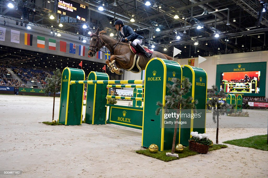 <a gi-track='captionPersonalityLinkClicked' href=/galleries/search?phrase=Simon+Delestre&family=editorial&specificpeople=2331561 ng-click='$event.stopPropagation()'>Simon Delestre</a> of France riding Hermes Ryan during The Rolex IJRC Top 10 Final at Palexpo on December 11, 2015 in Geneva, Switzerland.